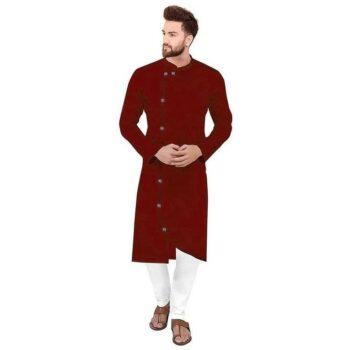 Ethnic Men Cotton Kurta Set Maroon