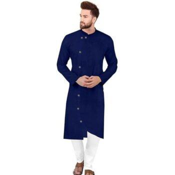 Ethnic Men Cotton Kurta Set Navy Blue