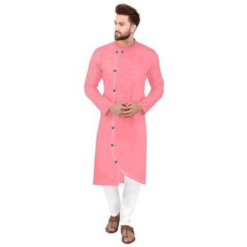 Ethnic Men Cotton Kurta Set Pink