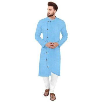 Ethnic Men Cotton Kurta Set Sky Blue