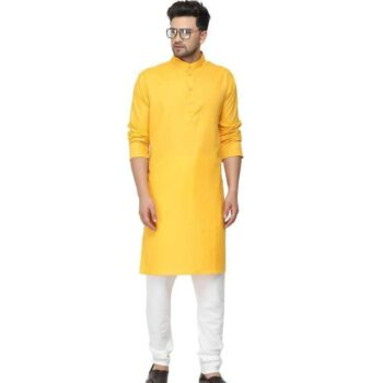 Ethnic Men's Cotton Kurta Pajama Set Yellow
