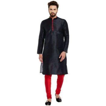 Ethnic Kurta Set Traditional Kurta Pyjama Set for Men - Black