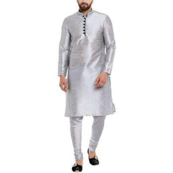 Ethnic Kurta Set Traditional Kurta Pyjama Set for Men - Silver