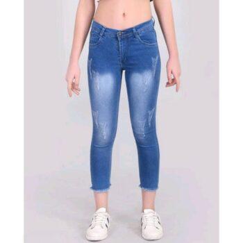 Fancy Fringed Jeans for Women Blue