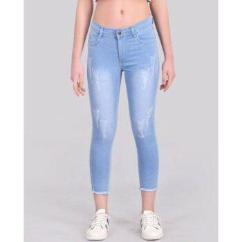 Fancy Fringed Jeans for Women Sky Blue