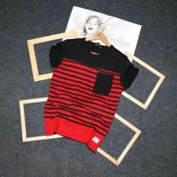FeelFree Men's Red Striped Tshirt