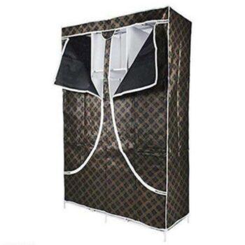 Foldable Wardrobe with 6 Racks, Standard Size (Black)