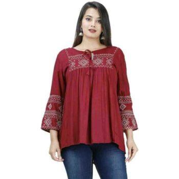 Gurmeet Fashion Rayon Fabric Tunic Top
