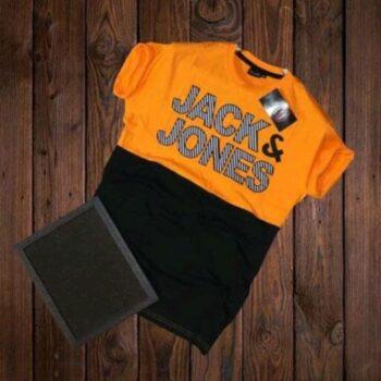 Jack and Jones Men's Cotton T-shirt Orange Green