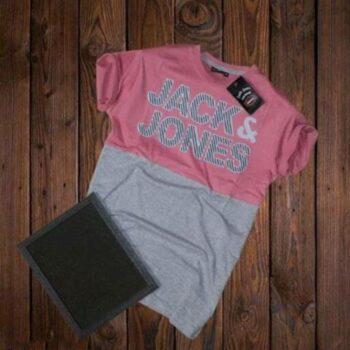 Jack and Jones Men's Cotton T-shirt Pink Grey