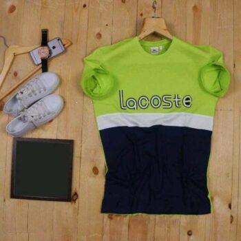 Lacoste Color Block Men's Tshirt Green Blue