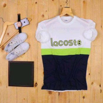 Lacoste Color Block Men's Tshirt White Blue