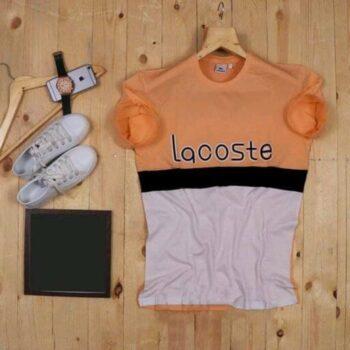Lacoste Color Block Men's Tshirt White Orange