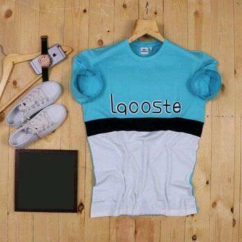 Lacoste Color Block Men's Tshirt White Sky Blue