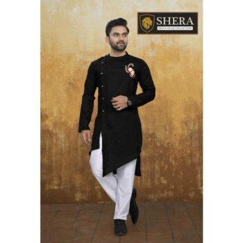 Men's Cotton Kurta Pajama Set Black