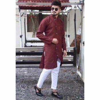 Maroon Men's Cotton-Blend Kurta Pyjama Set