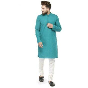 Men Cotton Casual Kurta Pajama Set Blue