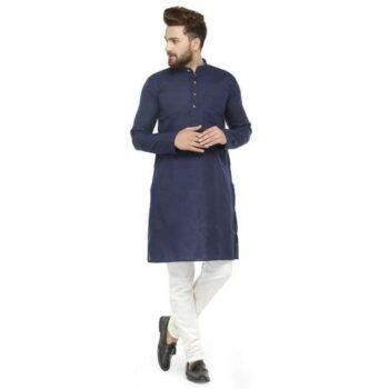 Men Cotton Casual Kurta Pajama Set (Navy)