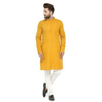 Men Cotton Casual Kurta Pajama Set Orange