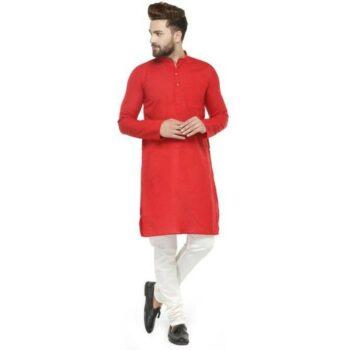 Men Cotton Casual Kurta Pajama Set Red