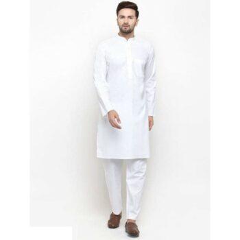 Men Cotton Casual Kurta Pajama Set White