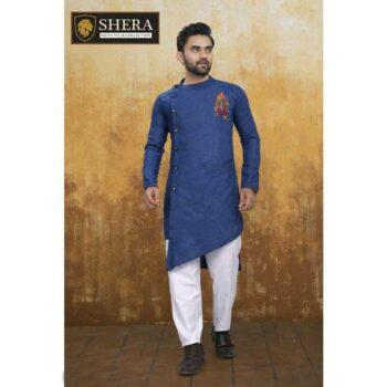 Men's Cotton Kurta Pajama Set Blue