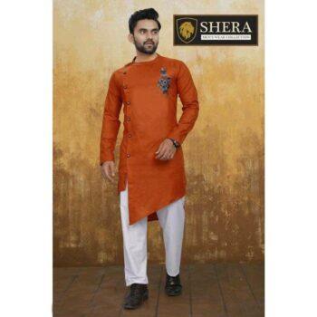 Men's Cotton Kurta Pajama Set Orange