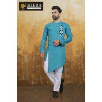 Men's Cotton Kurta Pajama Set Sky Blue