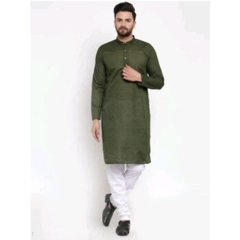 Men's Cotton Traditional Ethnic Green Kurta Pyjama Set