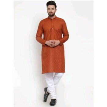 Men's Cotton Traditional Ethnic Maroon Kurta Pyjama Set
