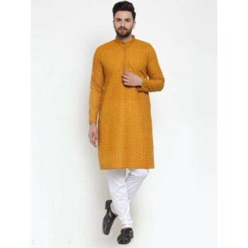 Men's Cotton Traditional Ethnic Orange Kurta Pyjama Set