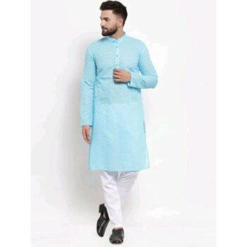 Men's Cotton Traditional Ethnic Sky Blue Kurta Pyjama Set