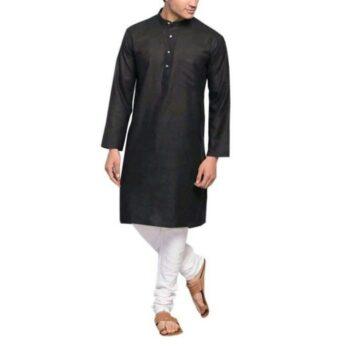 Men's Plain Solid Kurta Pyjama Set Black