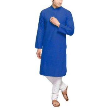 Men's Plain Solid Kurta Pyjama Set Blue