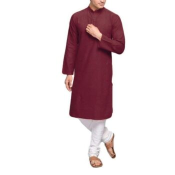 Men's Plain Solid Kurta Pyjama Set Maroon