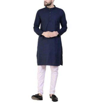 Men's Plain Solid Kurta Pyjama Set Navy Blue