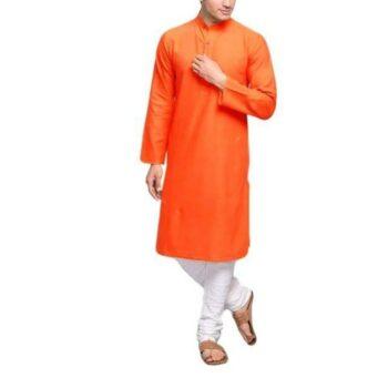 Men's Plain Solid Kurta Pyjama Set Orange