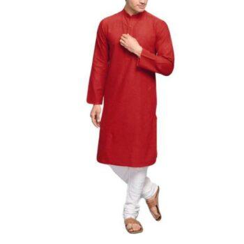 Men's Plain Solid Kurta Pyjama Set Red