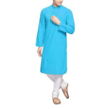 Men's Plain Solid Kurta Pyjama Set Sky Blue