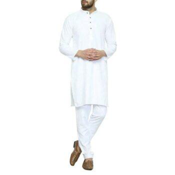 Men's Plain Solid Kurta Pyjama Set White