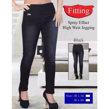 Plus Size High Waist Denim Jeggings Black