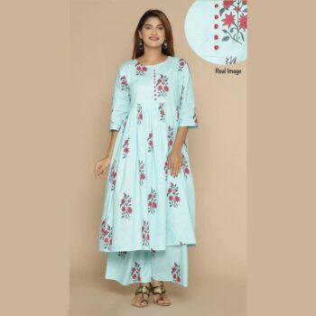 Printed Cotton Long Kurti With Palazzo for Women