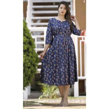 Rayon Pleated Printed Blue Kurti for Women