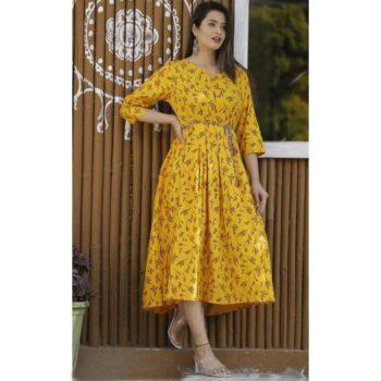 Rayon Pleated Printed Yellow Kurti for Women