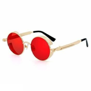 Steampunk Sunglasses for Men and Women Red Gold