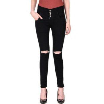 Stylish Stretchable Damaged Black Denim Jeans