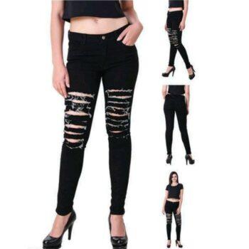 Stylish Women Jeans Black Damaged