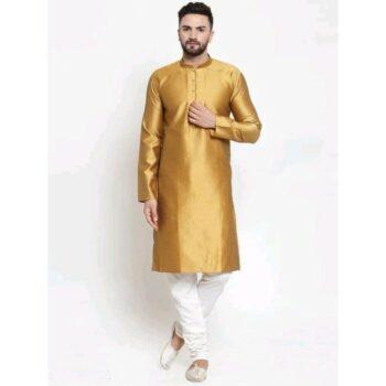 Traditional Jacquard Print Kurta and Churidar Set For Men Golden