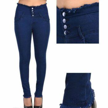 Trendy Graceful Women Jeans Navy Blue