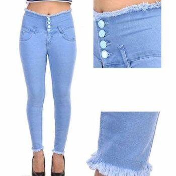 Trendy Graceful Women Jeans Sky Blue